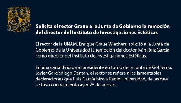 Director de la UNAM es despedido por referirse al Feminicidio como un acto  de amor